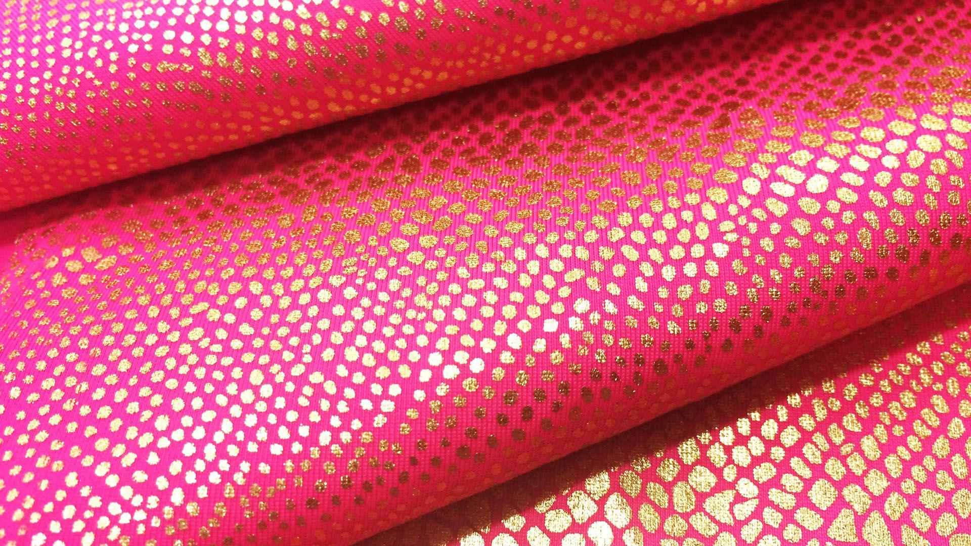 Tela Metalizada Fucsia Animal Print Nylon Lycra Spandex 4 Way Stretch Por Metro
