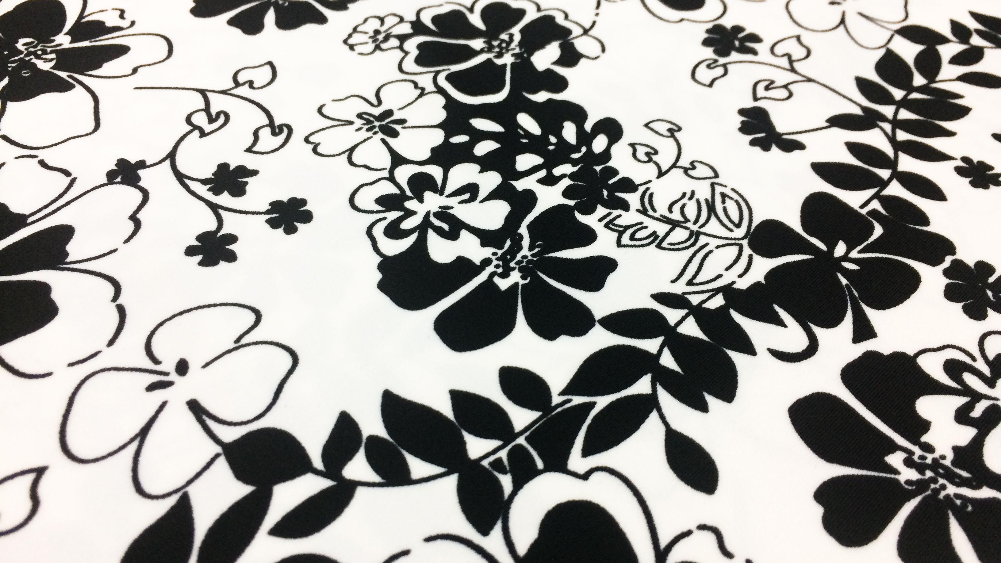 Estampado De Flores Blanco Y Negro Nylon Lycra Spandex 4